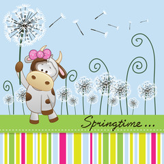 Cute Cow with dandelion