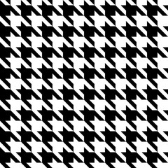 Black & White Houndstooth Check Fabric Pattern Texture