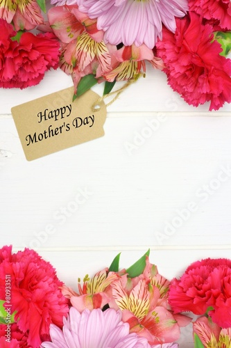 Happy Mother's Day gift tag with flower double border