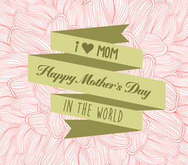 happy mother's day with label and doodle flower
