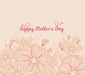 Happy mothers day bright spring with birds and  flowers retro