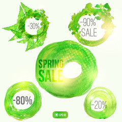 Vector watercolor spring splash set of  circle banners with