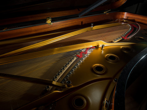 interior of a concert grand piano