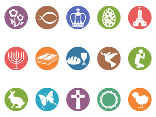 easter day button icons set
