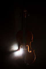 Elegant violin with smoke