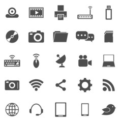Hi-tech icons on white background