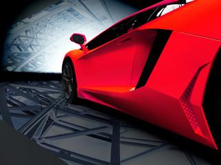 New CG 3d render of generic luxury detail sports car