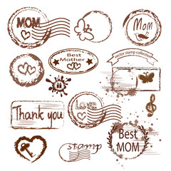Mother`s day stamp set.