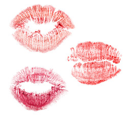 set of red lips imprint isolated on white