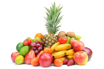 Collection fruit with pineapple isolated on white