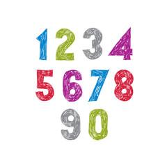 Contemporary handwritten vector digits, vector numerals.
