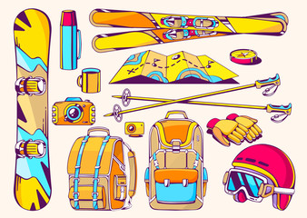 Vector illustration of winter travel accessories on white backgr