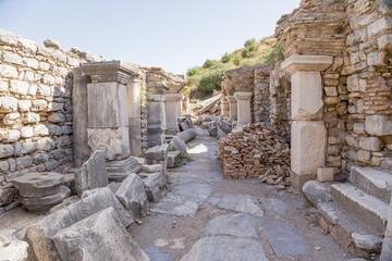Ephesus, Turkey. Ruins of buildings in a street