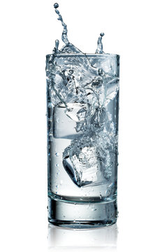 Glass of water with ice. With clipping path