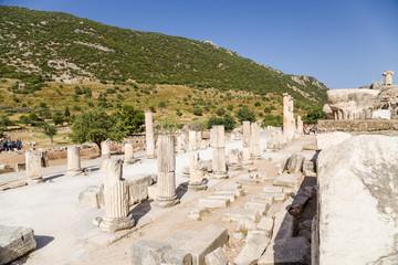 Ephesus, Turkey. The ruins of the Roman Basilica stoa