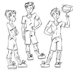 Set of vector full-length hand-drawn Caucasian teens with a socc