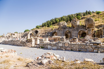 Ephesus, Turkey. The ruins of the baths, the Basilica, the Odeon