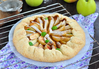 Galette pie with apple, cinnamon and castor sugar