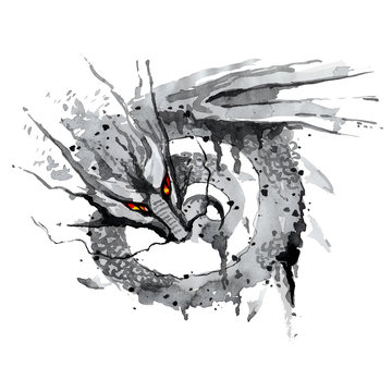 Fire-breathing dragon with red eyes.
