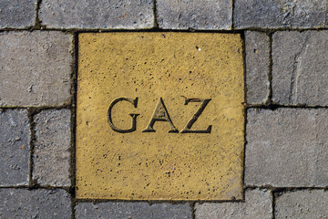 gaz mark on stone pavement, Belgium