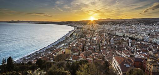 Fototapete - City of Nice panorama on sunset