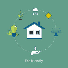 Flat design vector concept illustration with icons of eco