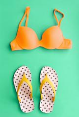 Summer Bikini Concept with Bikini and Flip Flop Sandals