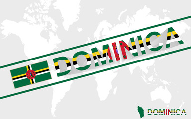Dominica map flag and text illustration