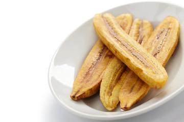 fried plantain banana on white background