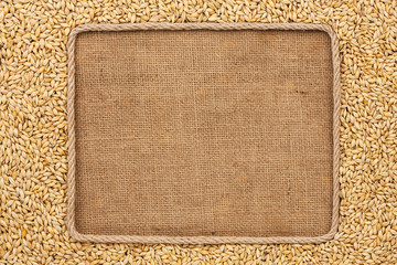 Frame made of rope with barley  grains on sackcloth