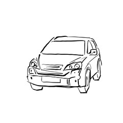 Black and white hand drawn car on white background, illustrated
