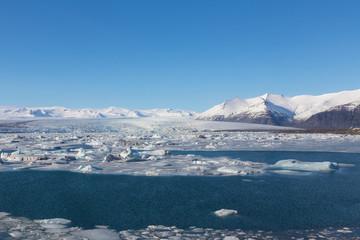 Blue ice lagoon with clear blur sky, Iceland