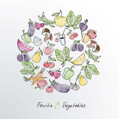 Fruit and vegetables. Food sign healthy lifestyle illustration.