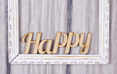 Word happy in the frame