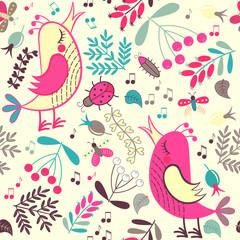 Seamless pattern cartoon birds and plants