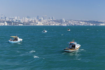 Small boats in the bay of the Golden Horn in Istanbul