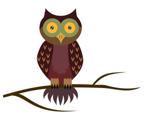 Vector owl sitting on branch