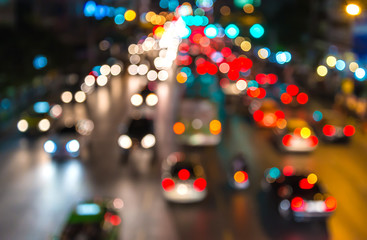 abstact blur bokeh of Evening traffic jam on road in city Fotomurales