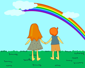 Children looking at rainbow. Vector illustration.