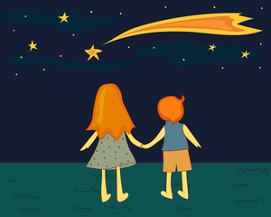 Children looking at a falling star. Vector illustration.