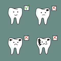 Set of healthy and bad teeth. Vector illustration.