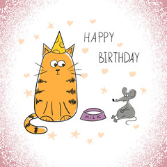Birthday greeting card with doodle cat and mouse.