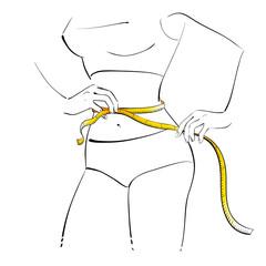 Girl measuring her waist.