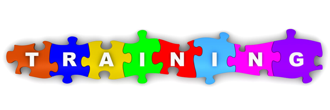 Обучение (training). Надпись на разноцветных пазлах