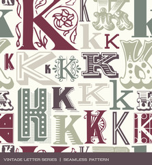 Seamless vintage pattern letter K in retro colors