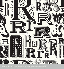 Seamless vintage pattern of the letter R