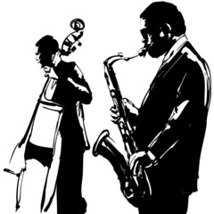 Wall Mural - Jazz  with saxophone and double-bass