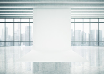 White paper background in the space with panoramic view