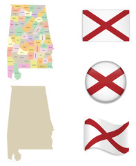 High Detailed Map of Alabama With Flag Icons