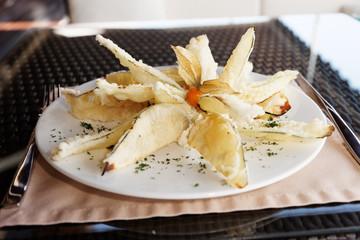 Deep fried eggplant in tempura coating
